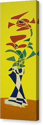 Floral On Yellow Canvas Print