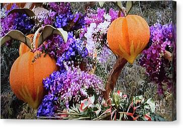 Canvas Print featuring the photograph Floral Peaches by Linda Phelps