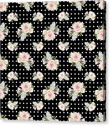 Floral Rose Cluster W Dot Bedding Home Decor Art Canvas Print by Audrey Jeanne Roberts