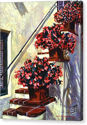 Floral Staircase Canvas Print by David Lloyd Glover