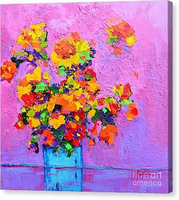 Floral Still Life - Flowers In A Vase Modern Impressionist Palette Knife Artwork Canvas Print