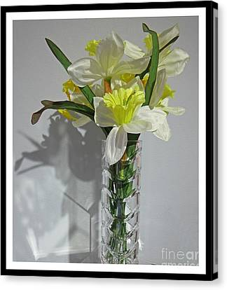 Floral Still Life In Crystal Vase Canvas Print by John Malone