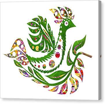 Flowerrs Canvas Print - Floral Summer  Bird Phoenix by Aleksandr Volkov