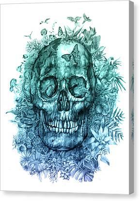 Floral Tropical Skull 2 Canvas Print by Bekim Art