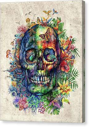 Floral Tropical Skull Canvas Print