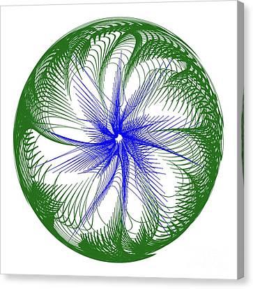 Floral Web - Green Blue By Kaye Menner Canvas Print