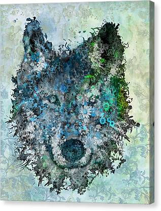Floral Wolf 2 Canvas Print