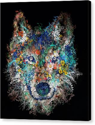 Floral Wolf 3 Canvas Print