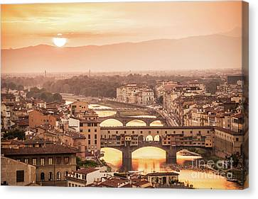 Tuscan Sunset Canvas Print - Florence At Sunset by Delphimages Photo Creations