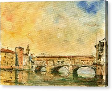 Florence Bridge Ponte Vecchio Canvas Print by Juan  Bosco