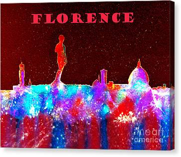 Florence Italy Skyline - Red Banner Canvas Print