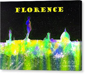 Florence Italy Skyline - Yellow Banner Canvas Print