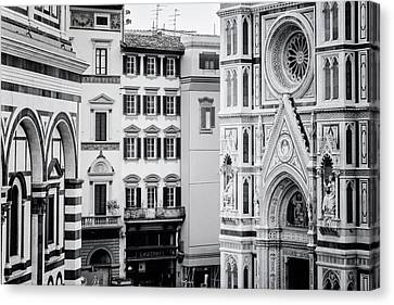 Canvas Print featuring the photograph Florence Italy View Bw by Joan Carroll