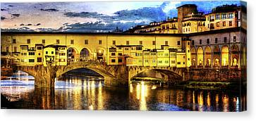Florence - Ponte Vecchio Sunset From The Oltrarno - Vintage Version Canvas Print