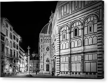 Florence Saint Mary Of The Flowers And Baptistery In Monochrome Canvas Print by Melanie Viola