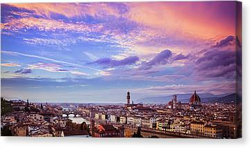Florence Skyline At Sunset Canvas Print by Andrew Soundarajan