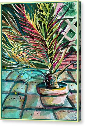 Canvas Print featuring the painting Florescent Palm by Mindy Newman
