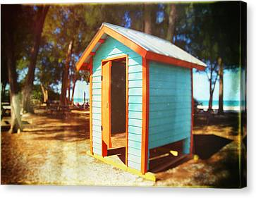 Dressing Room On The Beach In Florida Canvas Print