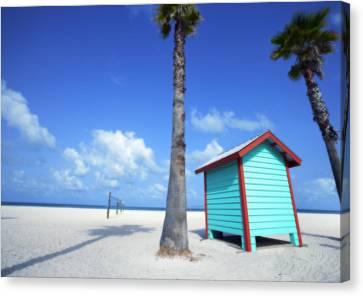 Florida Beach Dressing Room Canvas Print