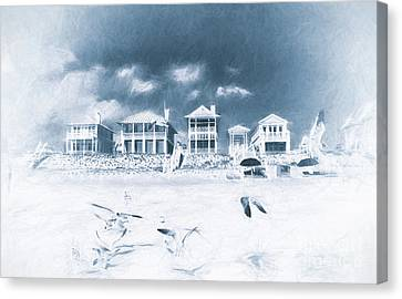 Florida Beach Houses With Birds Flying In The Sand Canvas Print by Vizual Studio