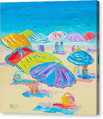 Florida Beach Umbrellas Canvas Print by Jan Matson
