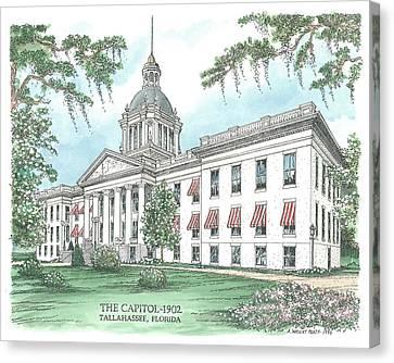 Florida Capitol 1902 Canvas Print by Audrey Peaty