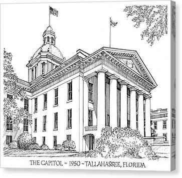 Florida Capitol 1950 Canvas Print by Audrey Peaty