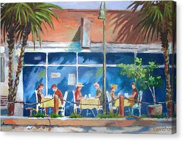 Canvas Print featuring the painting Florida Dining Out by Tony Caviston