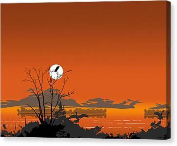 Greeting Card - Florida Everglades Tropical Birds Orange Sunset Canvas Print