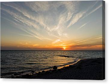 Southwest Florida Sunset Canvas Print - Florida Gulf Coast Caspersen Beach Sunset   -   5 by Frank J Benz