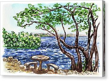 Canvas Print featuring the painting Florida Keys John Pennekamp Park Shore by Irina Sztukowski