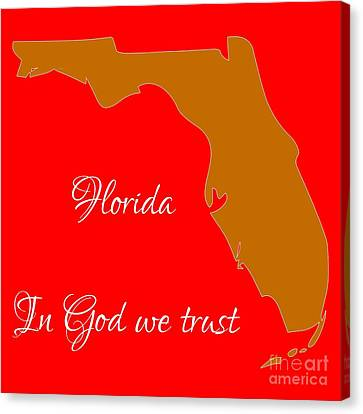Florida Map In State Colors Orange Red And White With State Motto In God We Trust  Canvas Print by Rose Santuci-Sofranko
