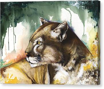 Canvas Print featuring the mixed media Florida Panther 2 by Anthony Burks Sr