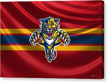 Florida Panthers - 3 D Badge Over Silk Flag Canvas Print by Serge Averbukh