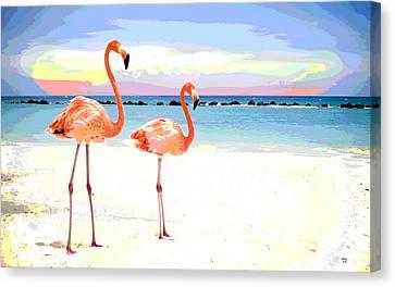 Florida Pink Flamingos Canvas Print by Charles Shoup