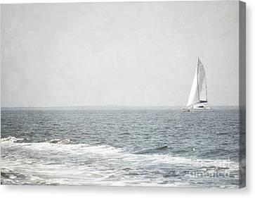 Florida Rustic Sailboat Ocean Landscape Canvas Print by Andrea Hazel Ihlefeld