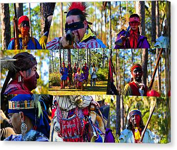 Canvas Print featuring the photograph Florida Seminole Indian Warriors Circa 1800s by David Lee Thompson