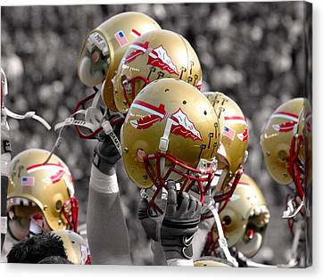 Florida State Football Helmets Canvas Print by Mike Olivella