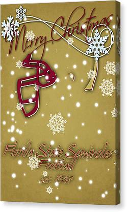 Florida State Seminoles Christmas Card 2 Canvas Print by Joe Hamilton