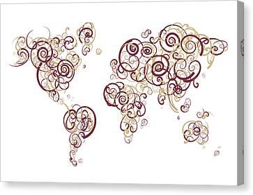 Florida State University Colors Swirl Map Of The World Atlas Canvas Print by Jurq Studio