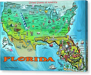 Florida Usa Cartoon Map Canvas Print by Kevin Middleton