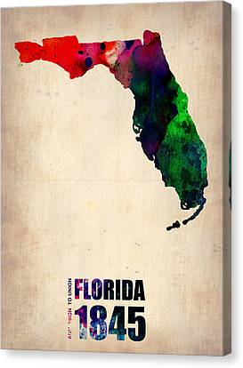 Florida Watercolor Map Canvas Print by Naxart Studio