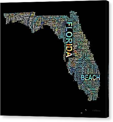 Florida Word Art Map Canvas Print by Barbara Chichester