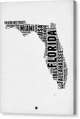 Florida Word Cloud Map 2 Canvas Print