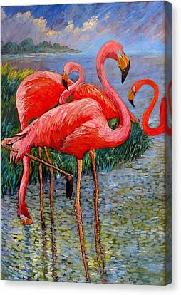Canvas Print featuring the painting Florida's Free Flamingo's by Charles Munn