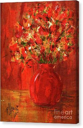 Canvas Print featuring the painting Florists Red by P J Lewis