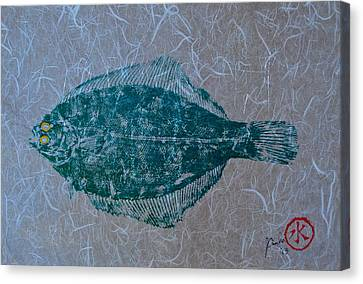 Painted Details Canvas Print - Flounder - Winter Flounder - Black Back by Jeffrey Canha
