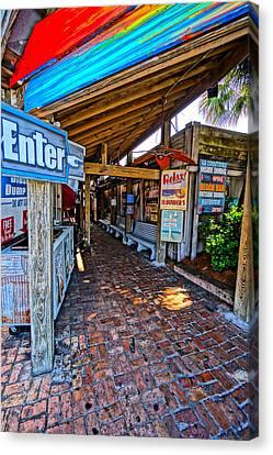 Chowder House Canvas Print - Flounders Beach Bar by Chuck Johnson