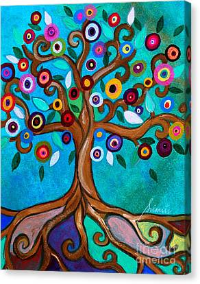 Canvas Print featuring the painting Flourishing Tree by Pristine Cartera Turkus