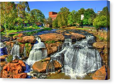 Flow On Reedy River Falls Park Art Greenville Sc Canvas Print by Reid Callaway